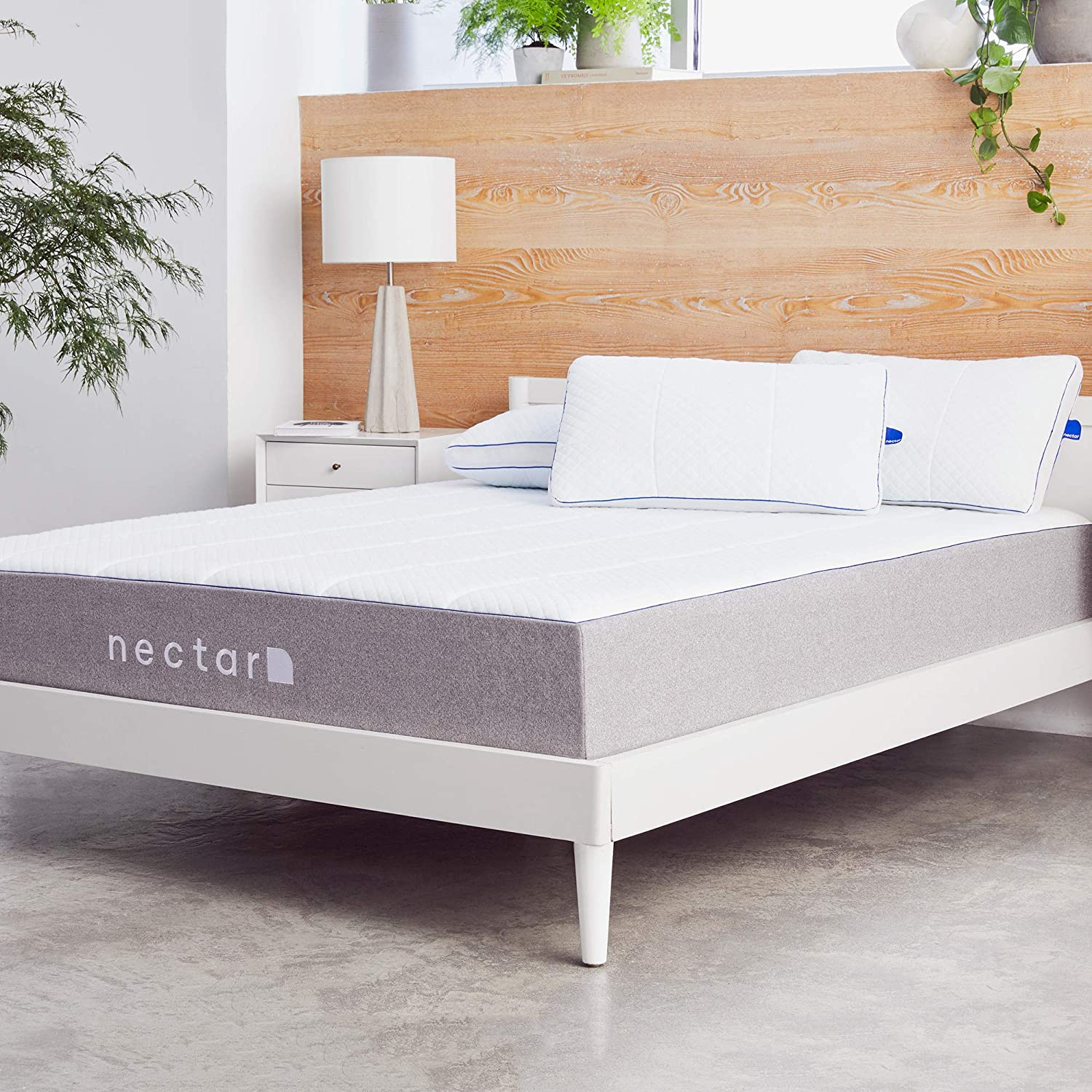 Nectar Queen Mattress + 2 Pillows Included - Gel Memory Foam