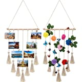 Perfect for Home Decor Boho Decorative Wall Hanging Pictures Organizer JAGOGOHOME Hanging Photo Display with Macrame A-Black with 20 Wooden Clips