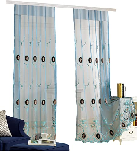 BW0057 Classic Europern Style Sheer Curtains Retro Pattern Embroidered Home Treatment