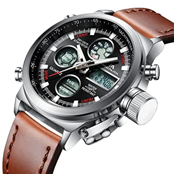 Mens Sports Watches Men Military Waterproof Big Face Analog Digital Brown Leather Band Wrist Watch (