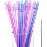 Hestya 25 Pieces Reusable Plastic Drinking Straws Clear Glitter Sparkle Straws with Cleaning Brush Straws Cleaner, 9 inches