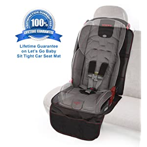 Let's Go Baby Sit Tight Car Seat Protector Mat with Storage Pockets - Large Anti-Slip Durable Car Seat Protector Mat for Baby and Child Car Seats - Premium Quality and Stylish Car Seat Cover