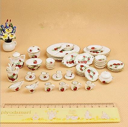 1:12 Dollhouse Miniature Dining Ware Porcelain Tea Set  Dish Cup Plate 50pcs