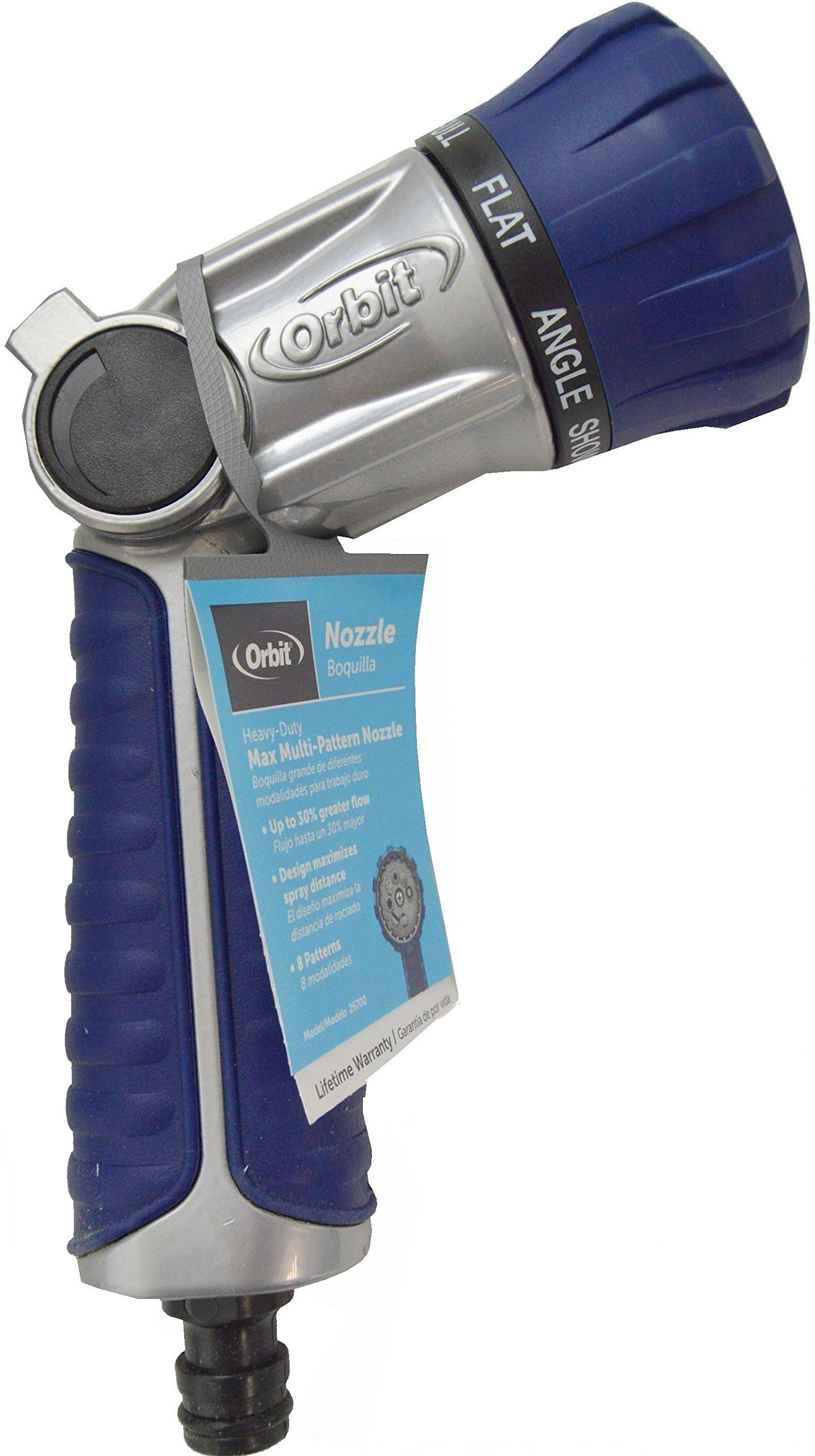 Orbit Max 26700 8-pattern Commercial Grade Zinc Rubber Coated Grip Rear-thumb Nozzle