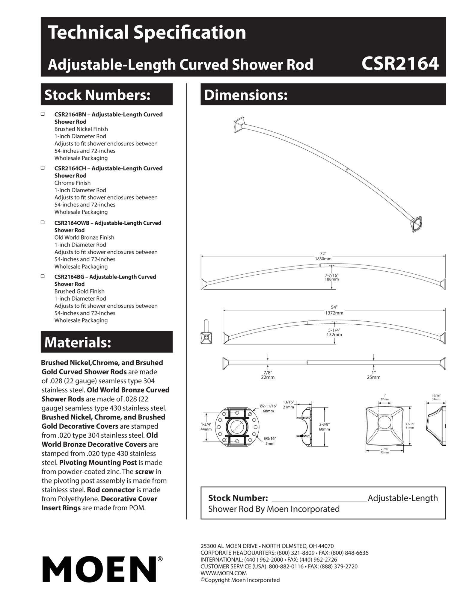 Moen CSR2164CH 72-Inch Permanent Mount Adjustable Curved Shower Rod, Chrome