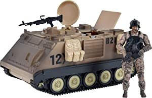 Sunny Days Entertainment Elite Force M113 Desert Armored Vehicle – Playset with Action Figure and Realistic Accessories   Military Toy Set for Kids