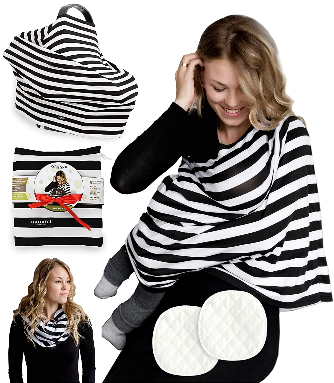 Baby Nursing Cover for Breastfeeding - 3 Pack Premium Set of Car Seat Canopy & Nursing Pads