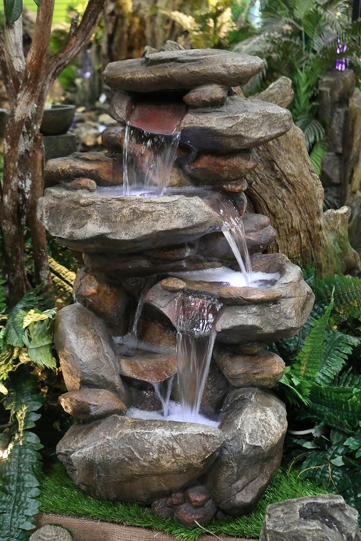 amazon com alpine win316 rock waterfall fountain with led light