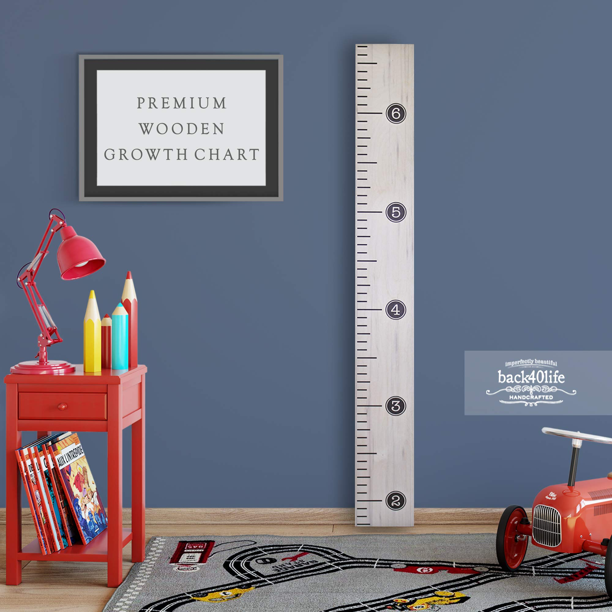 Back40Life - Premium Series - (Distressed Typewriter) Wooden Growth Chart Height Ruler (Weathered Natural) by Back40Life