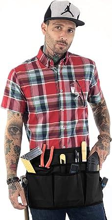 Makers Apron Adjustable for Men Handyman Woodworker Pro Mechanic 12 Pockets Women Under NY Sky Utility Tool Belt Apron Gardener Electrician Carpenter Heavy Duty Black Oxford Canvas DIY