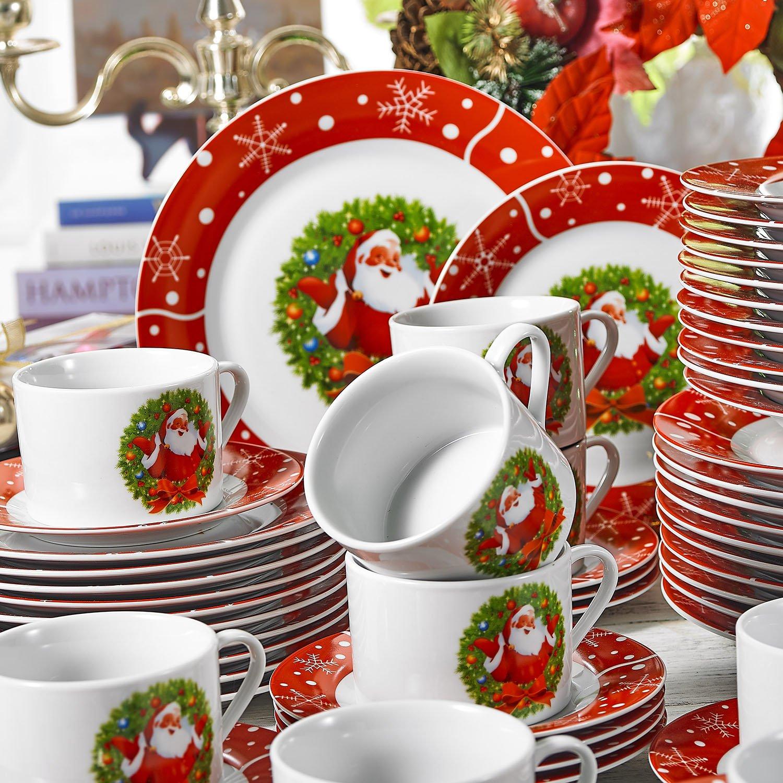 60 Piezas vajilla Completa para 12 Personas, Serie Christmastree,vajillas de Porcelana CHRISTMASDEER-60 pcs VEWEET