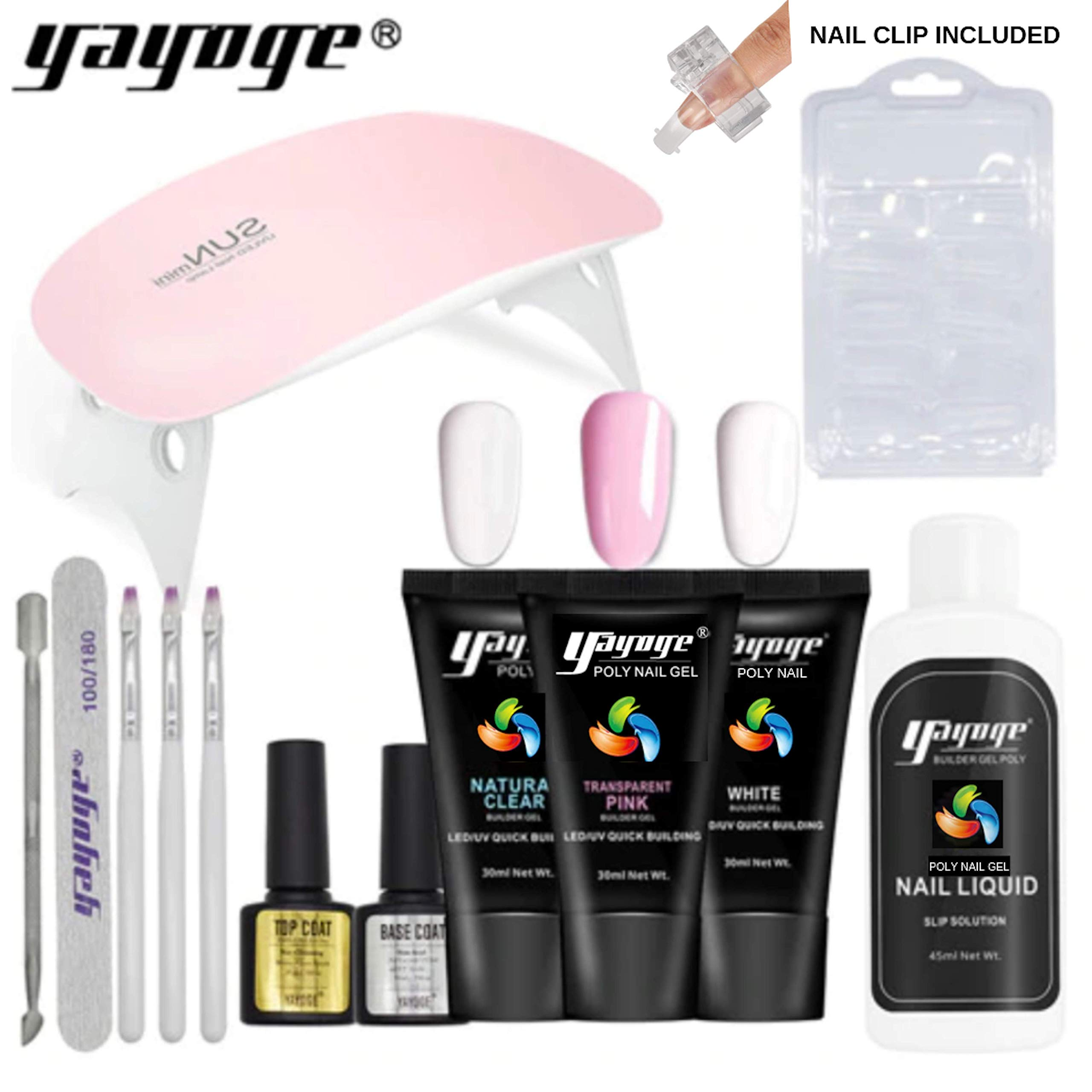 GenZ Poly Nail Gel Nail Extension 14 Pcs Complete Professional Nail Set Thickening Tool UV LED by GenZ UV Acryl Gel / PolyGel Yayoge