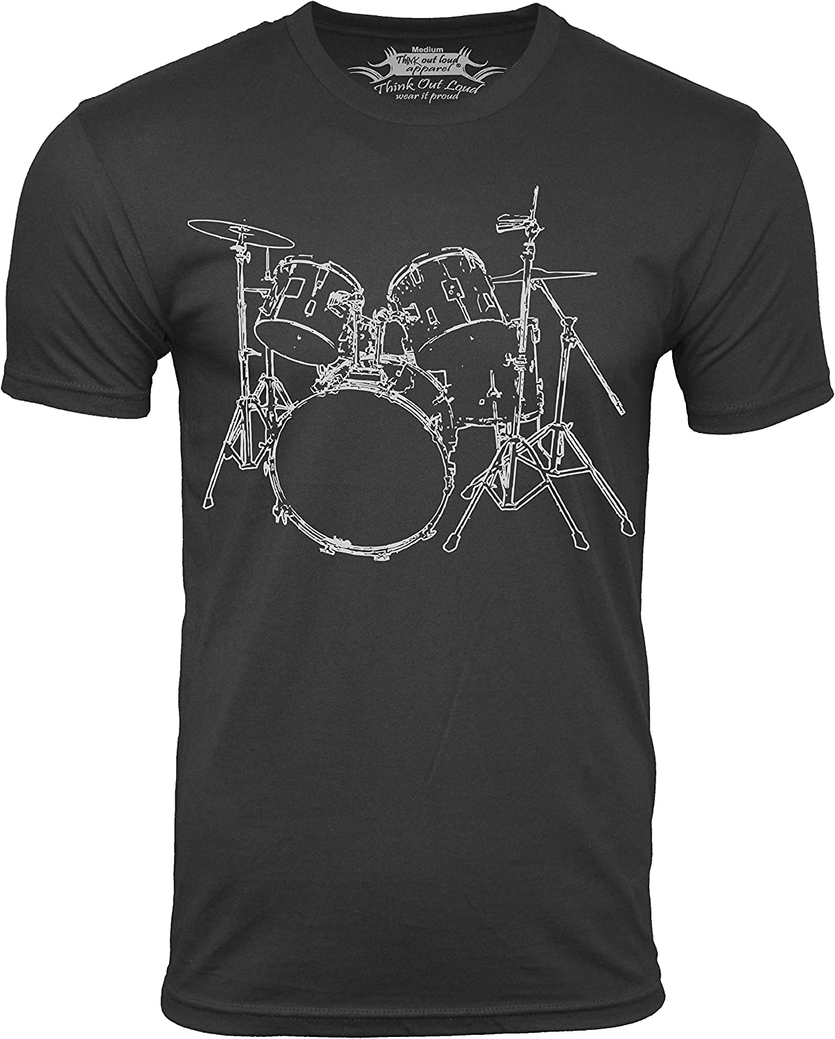 Think Out Loud Apparel Drums T-Shirt Artistic Design Drummer Tee