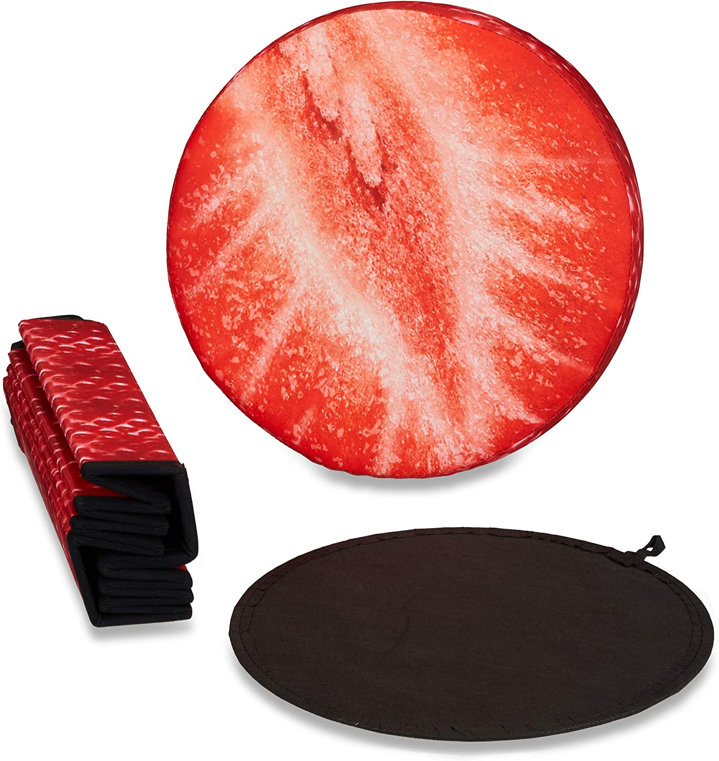 Relaxdays Folding Ottoman Seat with Storage Compartment, Round with Fruit Design, 38 x 38.5 x 38.5 cm, 30 L, Kiwi Strawberry Red