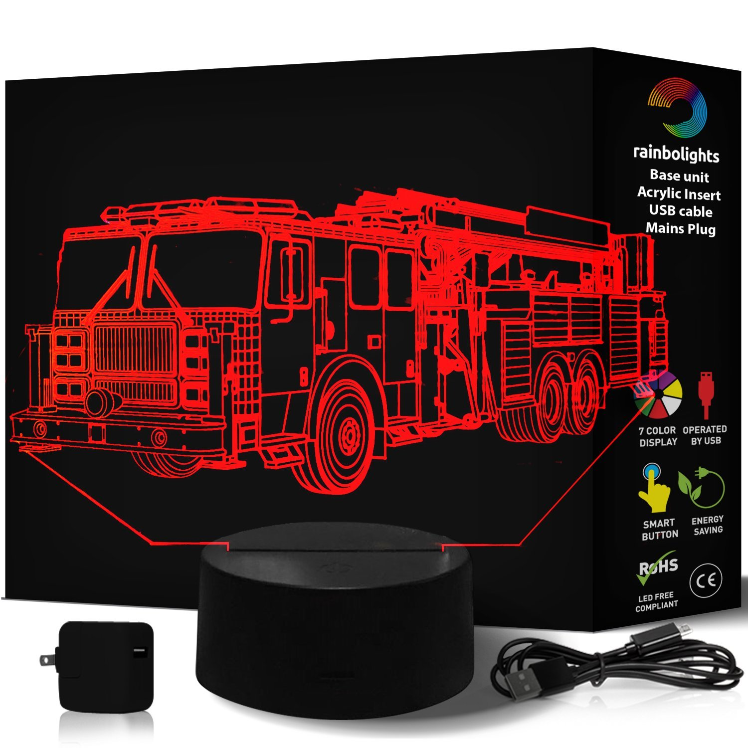 Amazon FIRE TRUCK Illusion Night Light 7 Color LED Does Not Get