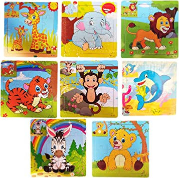 Birthday Popper - Wild Animals Wooden Jigsaw Puzzle - Set of 8