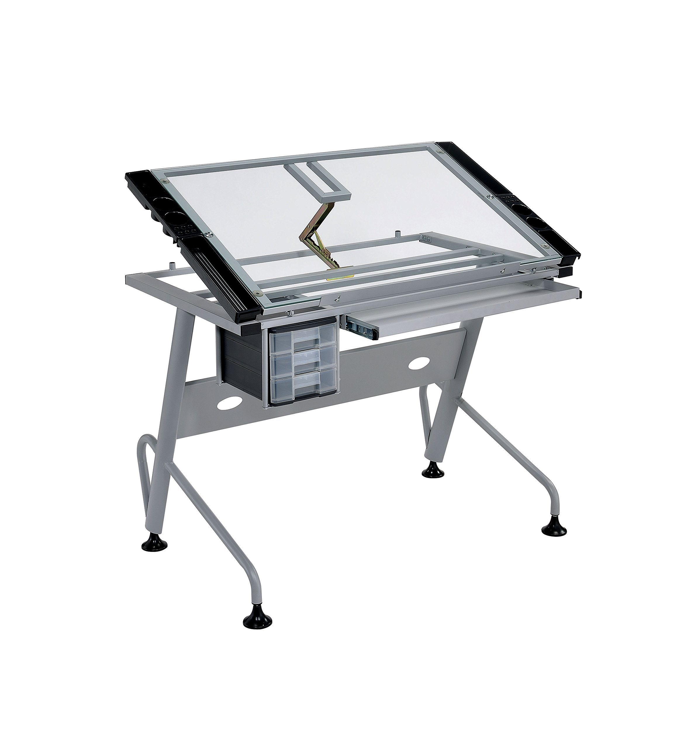 HOMES: Inside + Out ioHOMES Levi Adjustable Clear-Top Drawing Desk, Silver