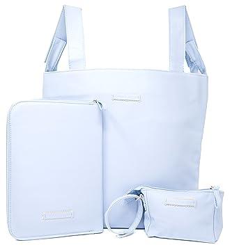 Bolso carro bebe, funda cartilla sanitaria bebe, guarda chupetes, bolsos para carritos de bebe, bolsa panera (Celeste)