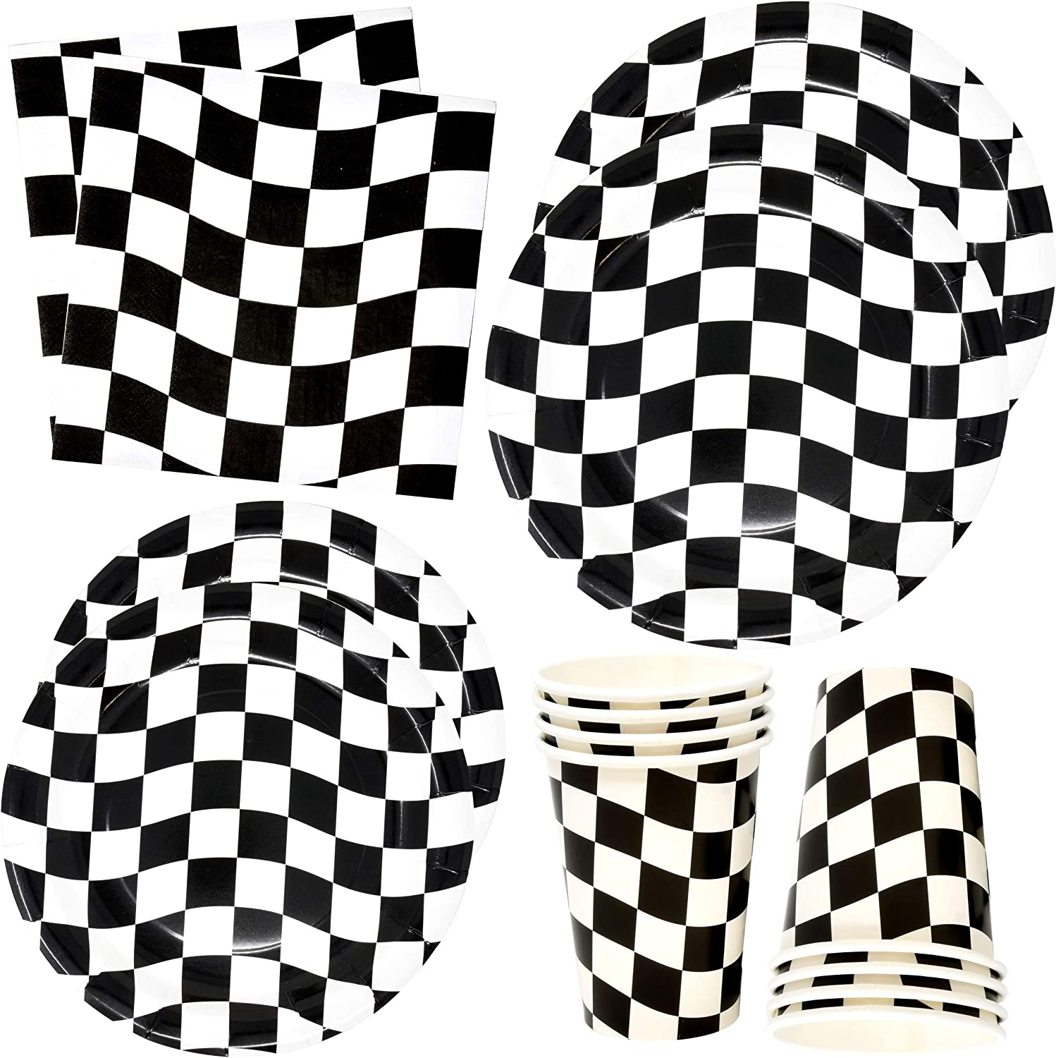 Black and White Checkered Racing Party Supplies Tableware Set 30 9