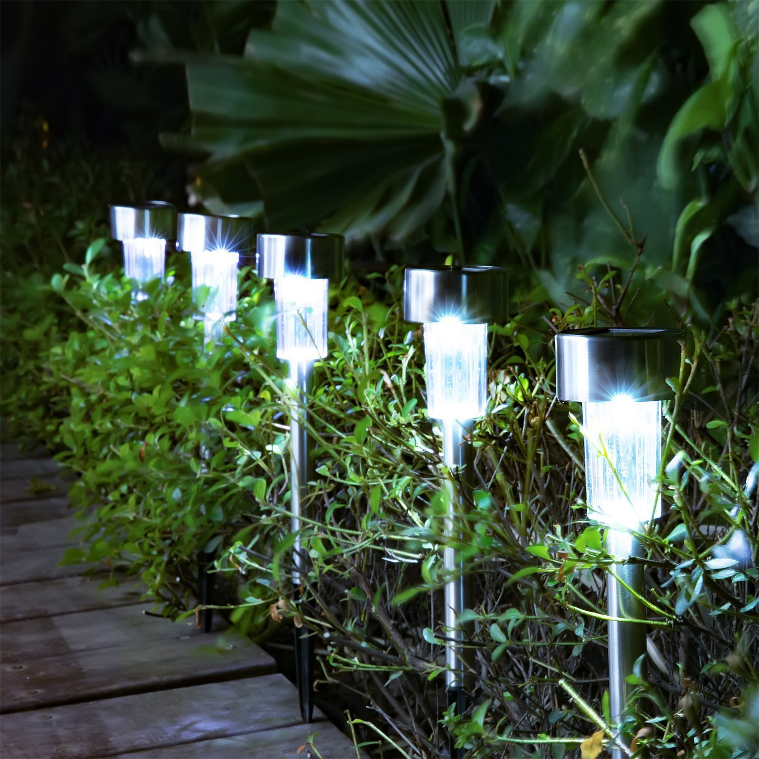 Solar Pathway Lights [16pack] - Waterproof Outdoor Garden Sunlight Powered Lights - Bright White - Landscape Light for Lawn/Patio/Yard/Walkway/Driveway (Stainless Steel) by Steelar (Image #5)