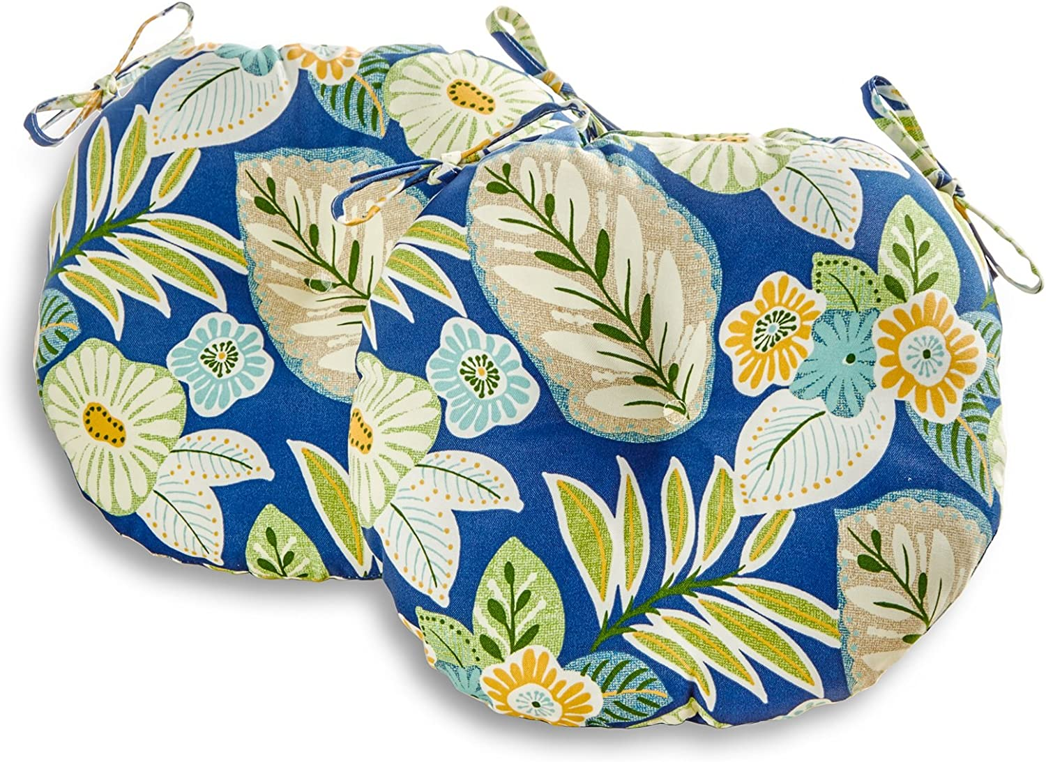 Greendale Home Fashions AZ5817S2-MARLOW Magnolia Floral Outdoor 18-inch Bistro Seat Cushion (Set of 2)