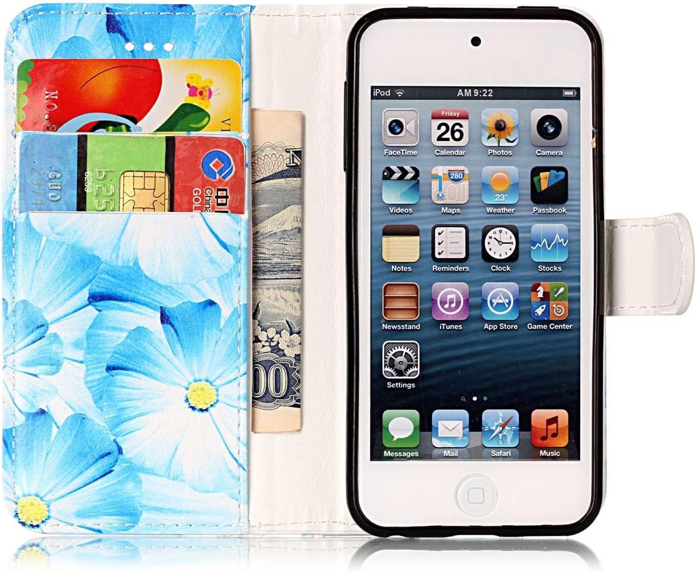 Kompatibel mit iPod Touch 5 H/ülle,iPod Touch 6 H/ülle,iPod Touch 5 6,JAWSEU Wei/ß Marmor Muster PU Leder H/ülle Schutzh/ülle Flip Case Brieftasche Tasche Handyh/ülle Klapph/ülle f/ür iPod Touch 5//6