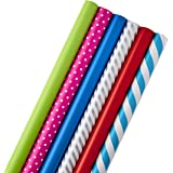 Hallmark All Occasion Wrapping Paper Bundle with Cut Lines on Reverse (Pack of 6; 180 sq. ft. ttl.) Solids, Polka Dots & Stri