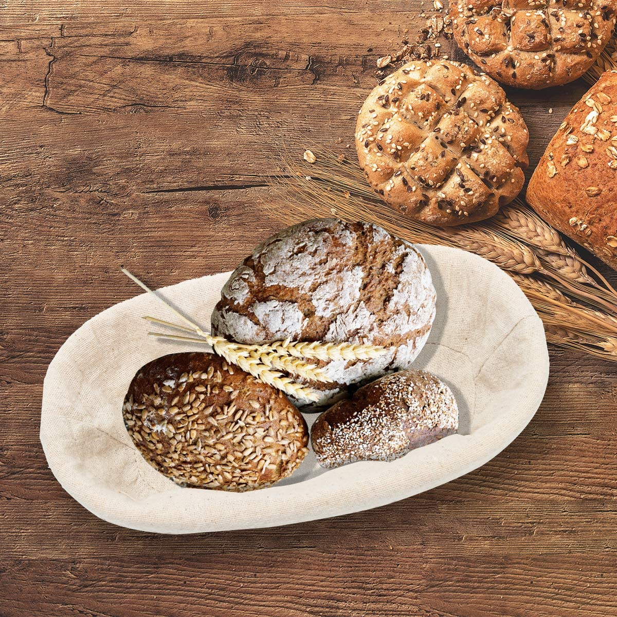 Ahier Premium Oval Banneton Basket with Liner Perfect Brotform Proofing Basket for Making Beautiful Bread 10 x 6 x 4 inch