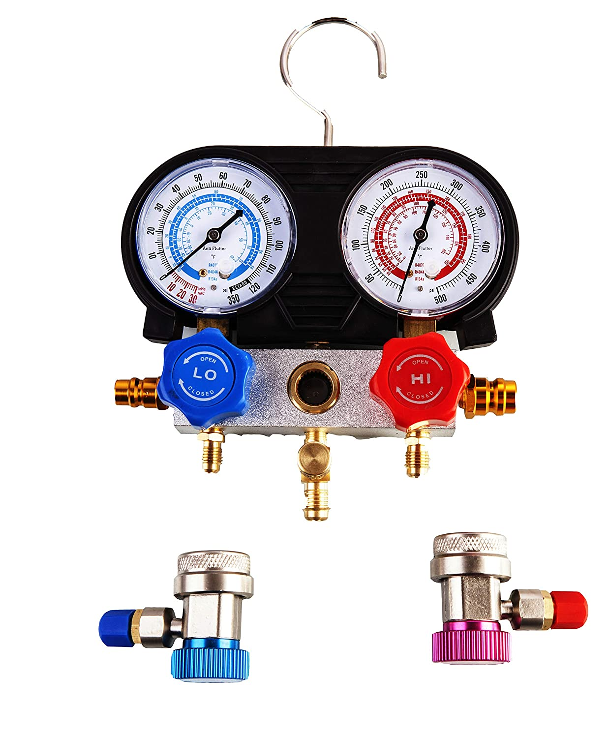Aain LX1002 (R) Brass Pro AC A/C Diagnostic Manifold Gauge Set For R134A  R12 R22 Refrigerants with Hoses & Couplers