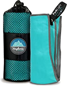 Youphoria Outdoors Microfiber Travel Towel - Ideal Fast Drying Towels for Camping,Travel, Beach, Backpacking, Gym, Sports, and Swimming - Lightweight, Quick Dry and Absorbent - 3 Sizes