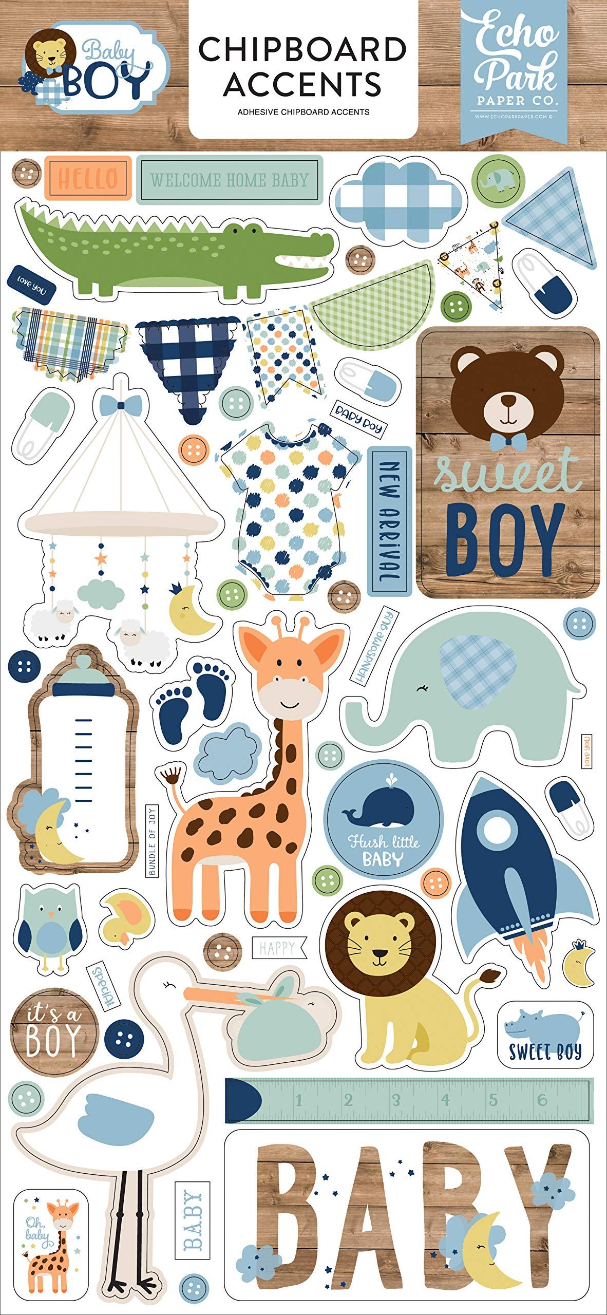 Echo Park Paper Company Baby Boy 6x13 Accents chipboard, blue, green, mint, yellow