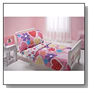 Everything Kids 4 Piece Toddler Bedding Set, Hearts