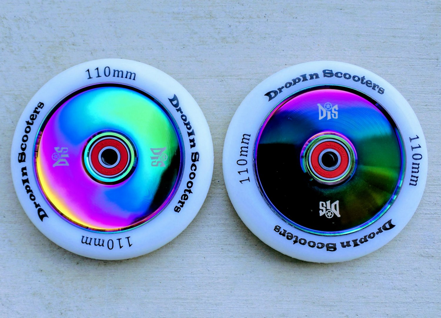 DIS 110mm Hollow Slicks Metal Core Scooter Wheels - 2 Neochrome Wheels with ABEC-11 Bearings and spacers Installed
