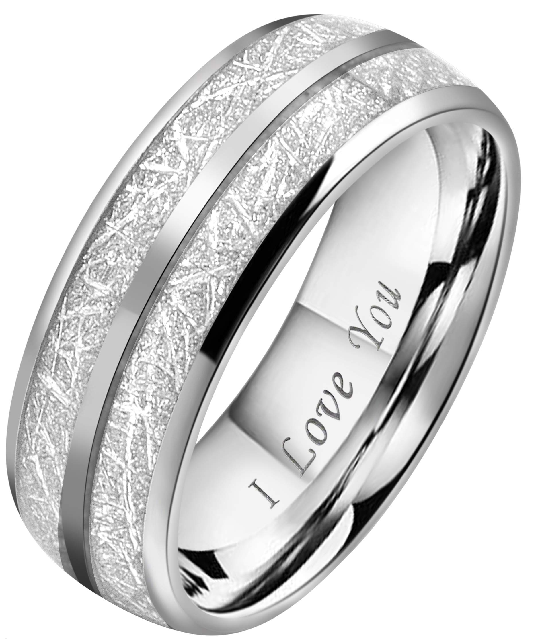 Crownal 8mm Imitated Meteorite Tungsten Wedding Ring Band Engagement Ring Domed Polished Engraved''I Love You'' Size 5 To 17 (8mm,17)