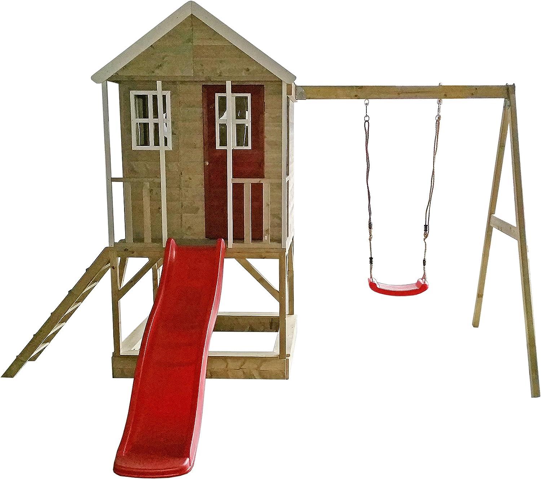 Wendi Toys M10 Nordic Adventure House | Casita Infantil de Madera en Plataforma con Columpios Individuales para Exteriores Niños