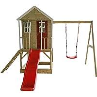 Wendi Toys Nanook-Shop Nordic Adventure Cabane de Jeu pour Enfant en Bois avec balançoire, fenêtre en plexiglas