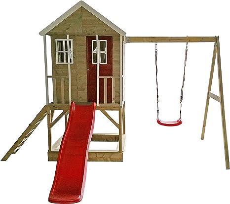 Casita infantil de madera en plataforma con columpios individuales para exteriores ,Niños de tipo abierto