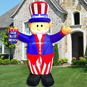 6 Foot Tall Patriotic Independence Day - 4th of July Inflatable Outdoor Decor Uncle Sam with God Bless America Flag Decoration LED Blow Up Lighted for Outdoor Indoor Home Celebration Garden Yard