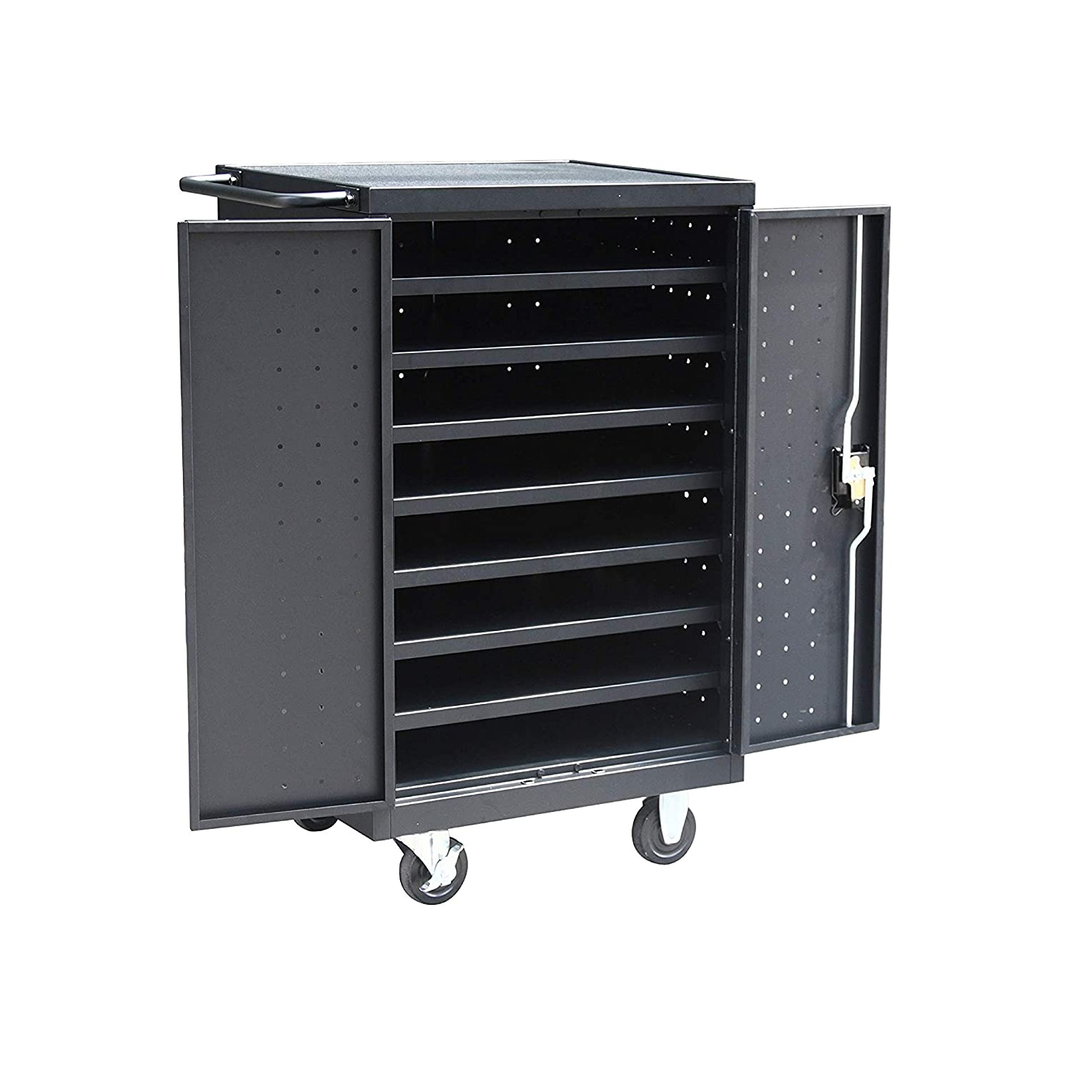 Pearington 12-Device Mobile Charging and Storage Cart for iPads, Tablets and Laptops Computers, Up to 16-inch Screen Size, Surge Protection, Front & Back Access Locking Cabinet, Black