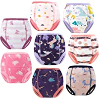 MooMoo Baby 8PCS Washable Toddler Underwear Incontinence Pants,Cotton Toilet Training Pants Cloth Nappies,Kids Boy and…