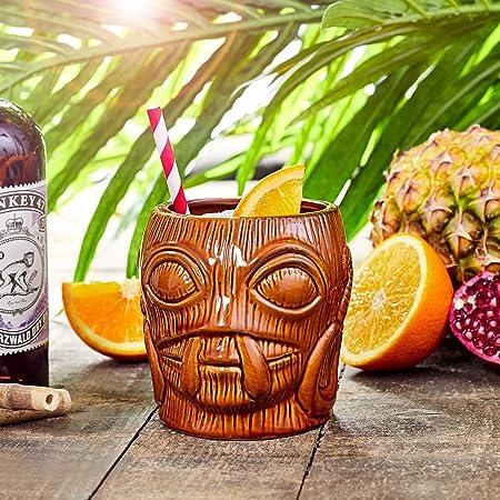 /cer/ámica Hawaiano c/óctel Taza bar@drinkstuff Bora Bora Tiki Taza marr/ón 16/oz//450/ML/
