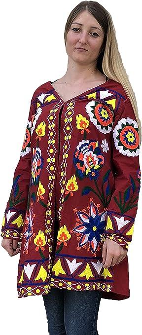 Women Boho Embroidery Uzbek Indian Bohemian Blazer Kimono Red Robe Jacket Hand Made Natural fabrics Cotton Silk Bridesmaid Robes