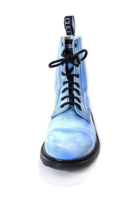 Cult Bolt Strike Vintage Leather Boots With Steel Toe Blue and White (38 EU, Blue)