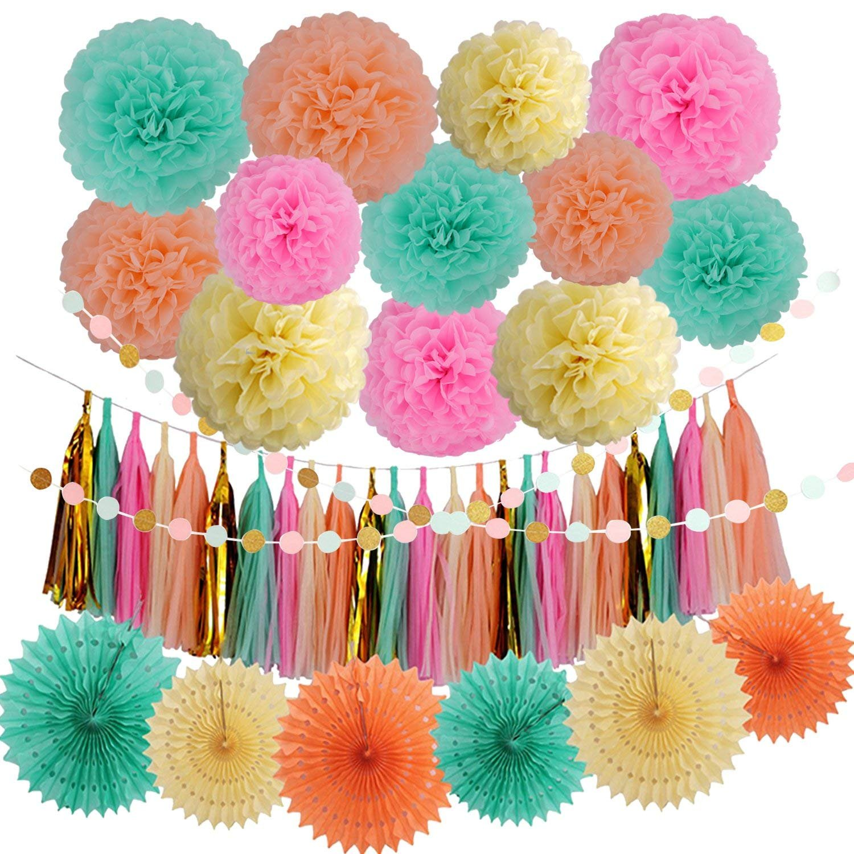 Veylin 36 Pieces Party Decorations Kits Tissue Tassels Garland
