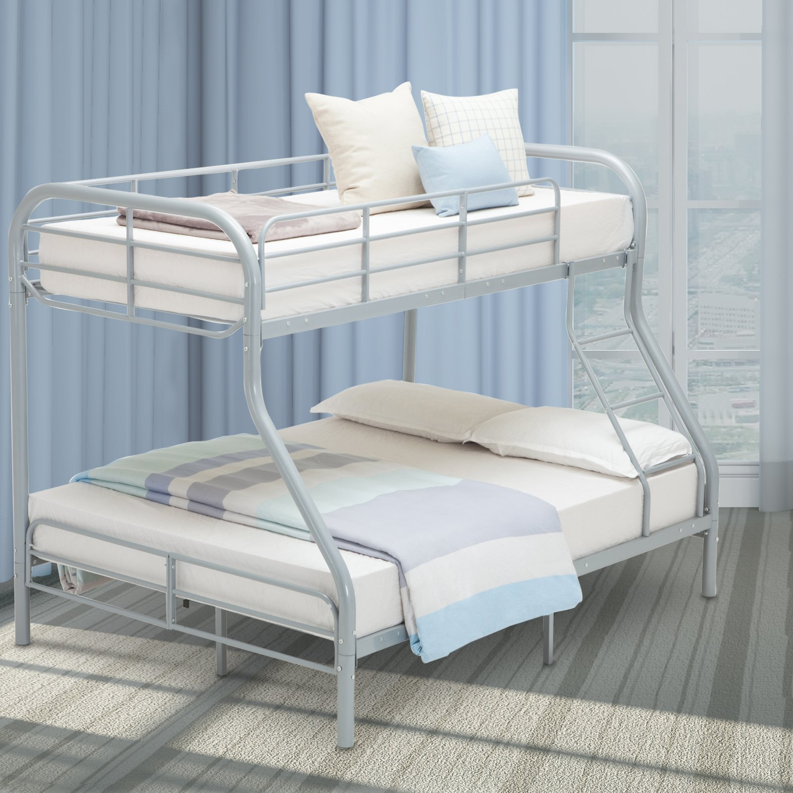 LAGRIMA Twin Over Full Metal Sturdy Bunk Bed Frame, with Inclined Ladder, Safety Rails for Kids Teens Adult, Space-Saving Design - Silver
