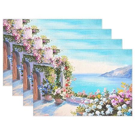 PINTURA al óleo de flores sala de mar vista de Santorini isla ...