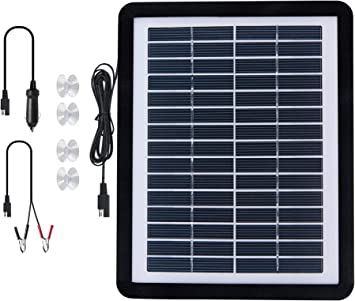 Uncle Squirre 12V Solar Car Battery Trickle Charger&Maintainer 6W Solar Panel Power Kit Portable Backup for Automotive RV Marine Boat Motorcycle Truck Trailer Tractor Powersports Snowmobile Farm