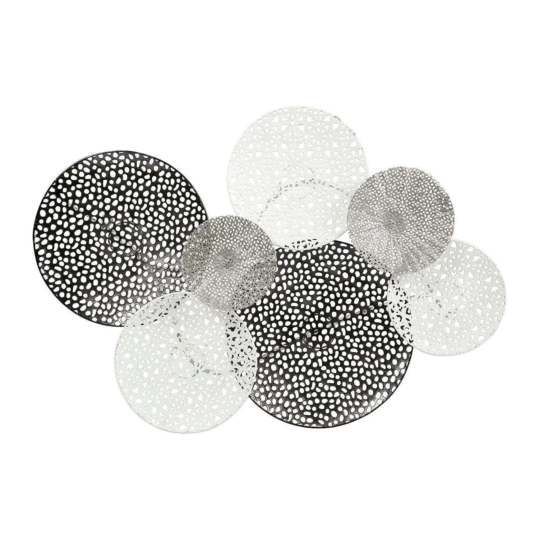 Ostaria Wanddekoration Gitter, Gitter, Gitter, Metall, Silber, weiß und schwarz, 73.6 x 8 x 49.5 cm c6b4e5