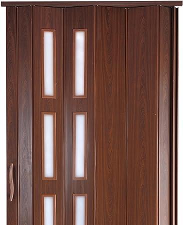 Puerta plegable corredera plástico Puerta caoba Colores Altura 202 cm ancho de montaje de ventana de hasta 94 cm Doble pared Perfil nuevo: Amazon.es: Bricolaje y herramientas