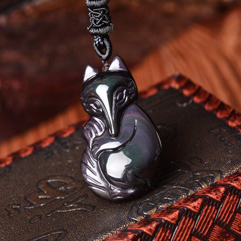 Sinymilk Natural Obsidian Fox Empress Pendant Rainbow Eye Effect Grounding Stone